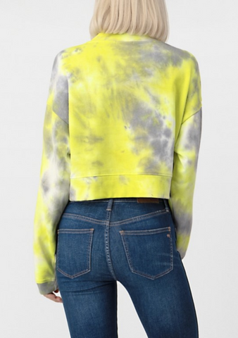 Lemon Tie Dye Crop Sweatshirt