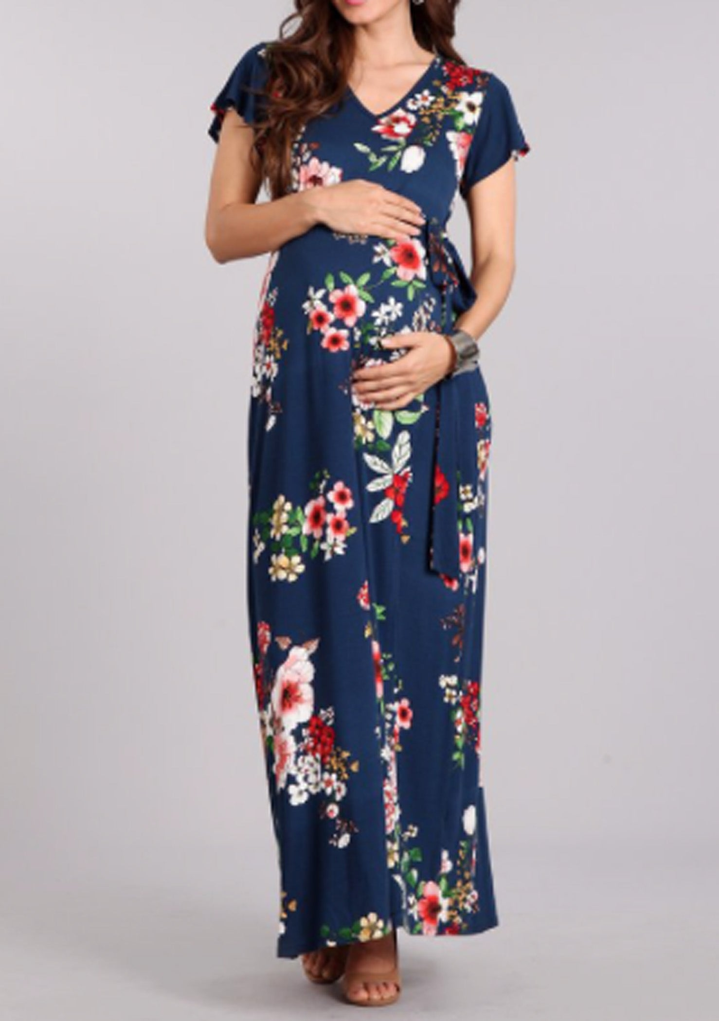 Maternity Navy Floral Maxi