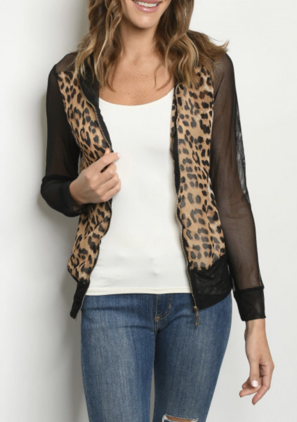 Mesh Leopard Zip Up