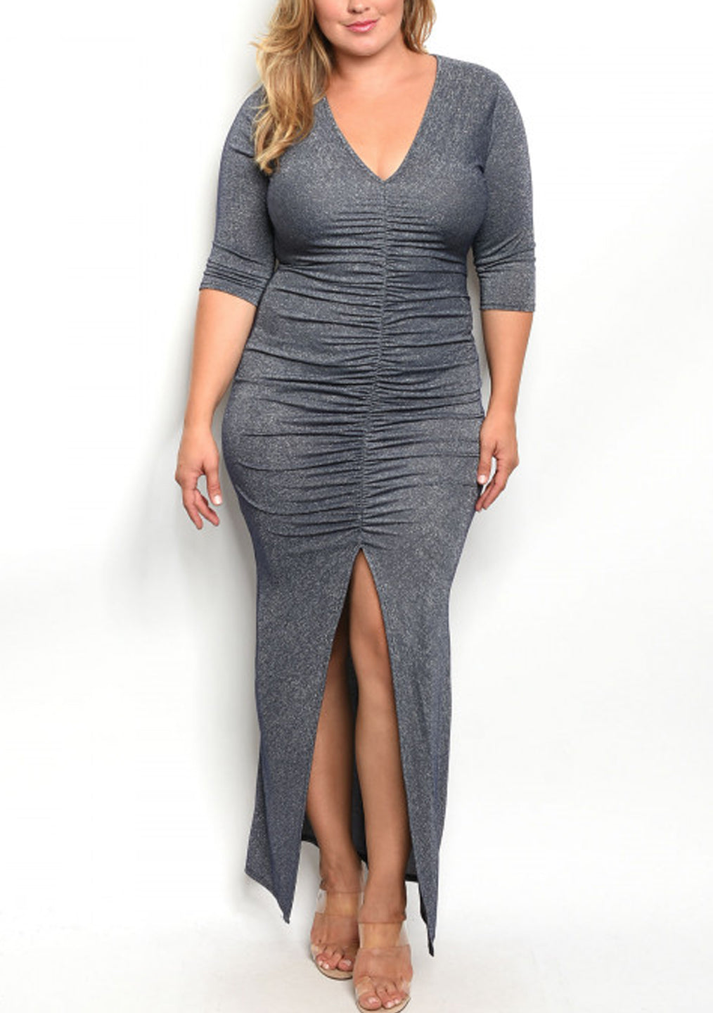 Metallic Shimmer Plus Size Slit Maxi Dress