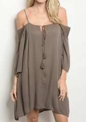 Off the Shoulder Tan Tassle Dress