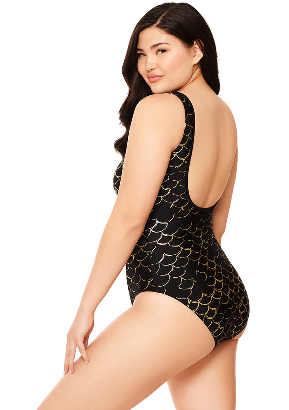 Oh My Goddess Plunge Mesh One Piece Bathing Suit