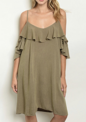 Olive Off the Shoulder Ruffle Dress