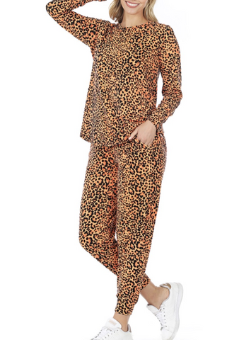 Orange Leopard Lounge Set