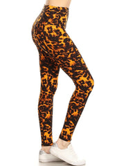 Orange Leopard Yoga Leggings
