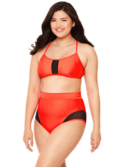 Orange Mesh Insert High-Waisted Bikini Bottom