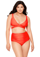 Orange Plunge Wrap Bikini Top