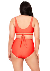 Orange Ruched High-Waisted Bikini Bottom