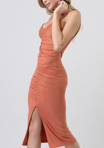 Peachy Slit Dress