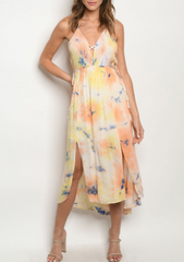 Peachy Yellow Tie Dye Maxi