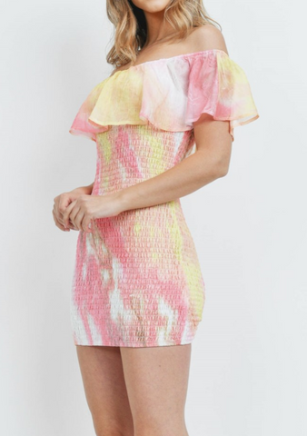 Pink Tie Dye Ruffle Dress
