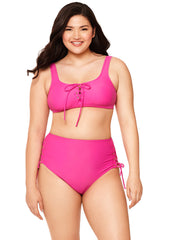 Pink Lace Up High-Waisted Bikini Bottom