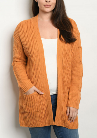 Plus Mustard Knit Cardigan