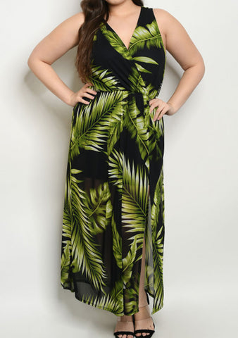 Plus Black Green Leaf Maxi Dress
