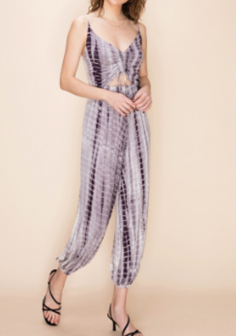 Purple Tie Dye Peekaboo Jumpsuit