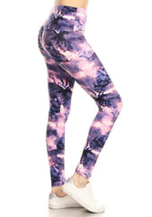 Purple Tie Dye Yoga Leggings