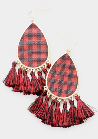 Red Buffalo Plaid Tassel Earrings