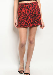 Red Leopard Print Skirt