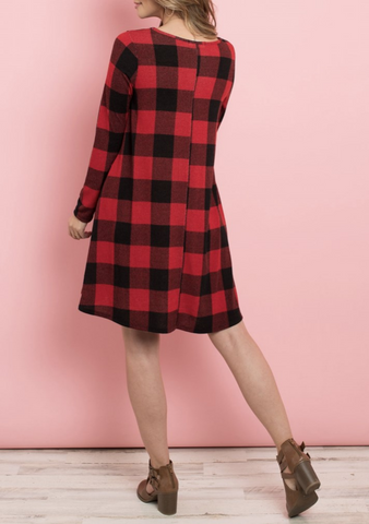Red Plaid Shift Dress