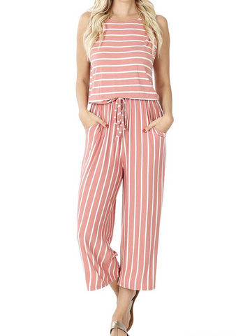 Rose Striped Jumpsuit
