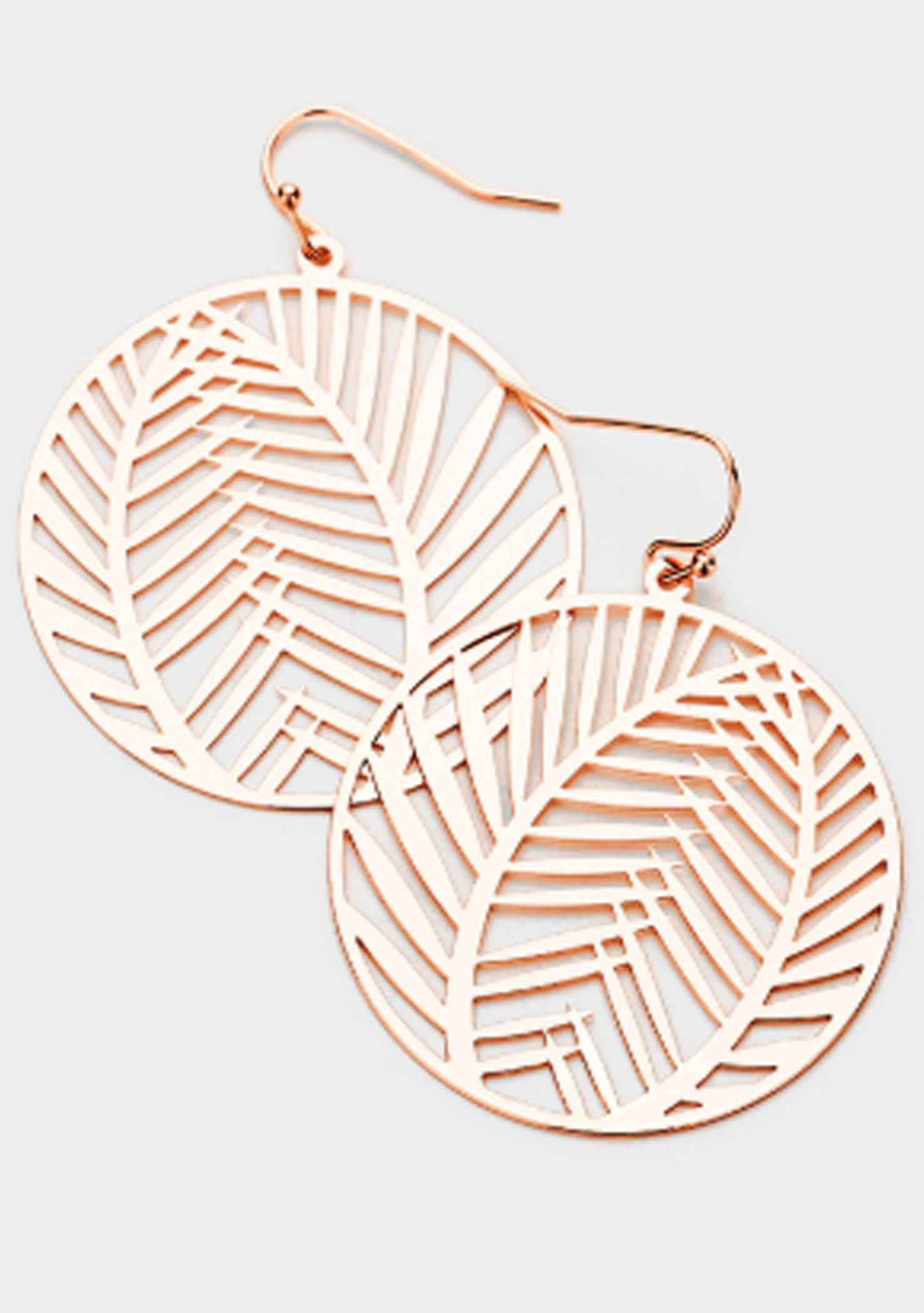 Rose Gold Leaf Hoop Earrings