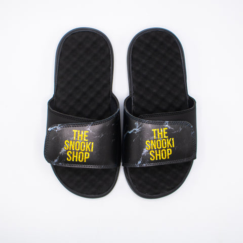 The Snooki Shop Sandals - Yellow on Black Marble