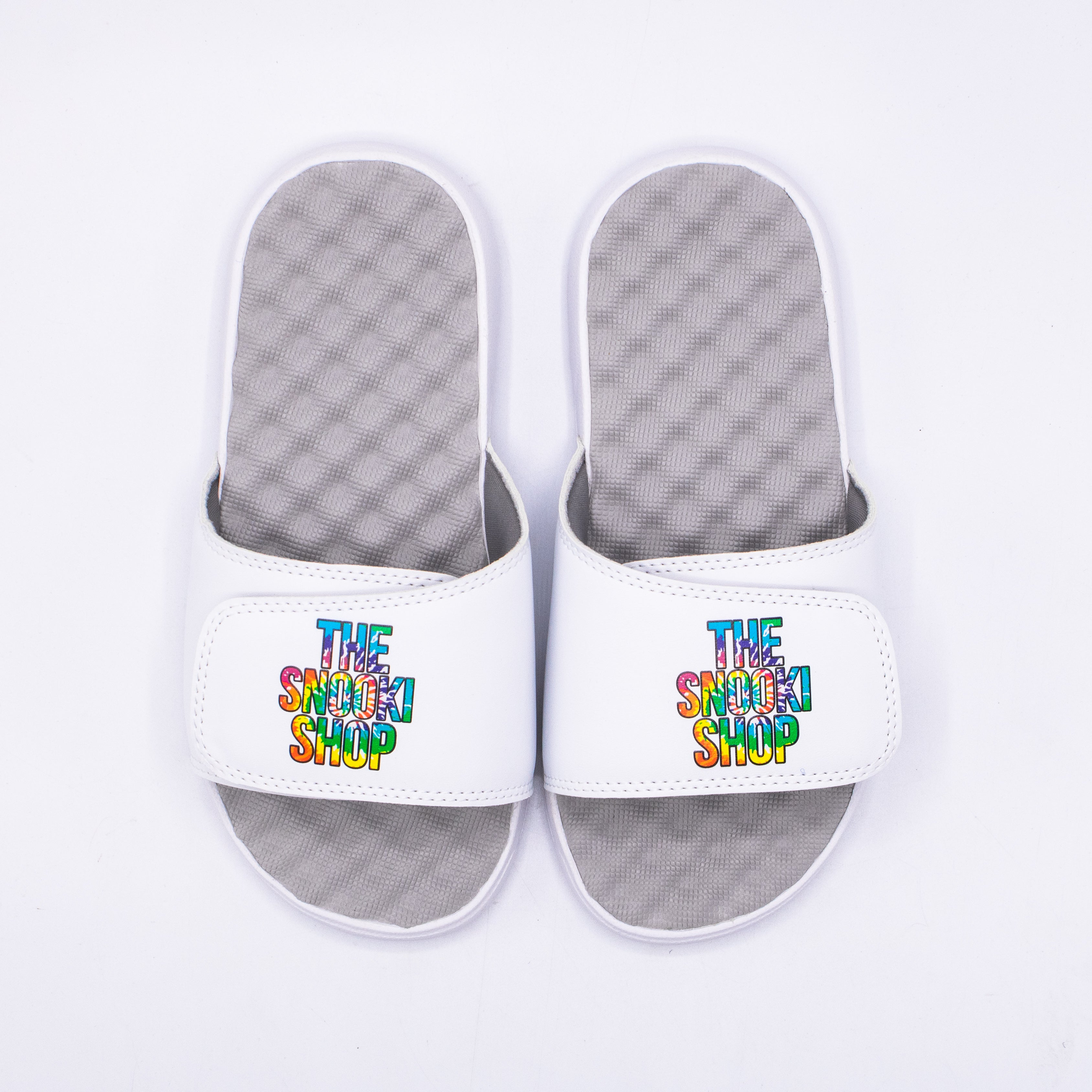 The Snooki Shop Sandals -Tie Die on White Gray Footbed