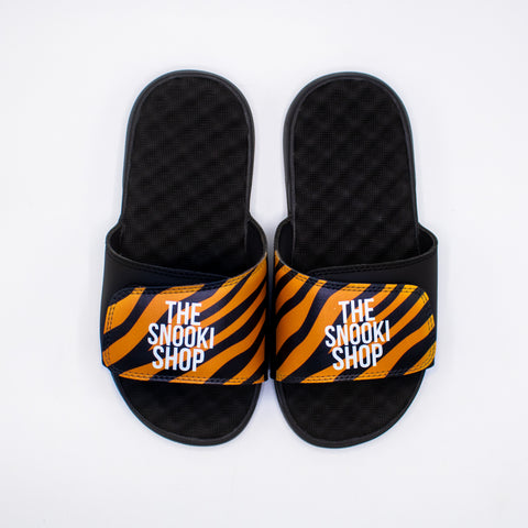 The Snooki Shop Sandals -White on Orange Zebra