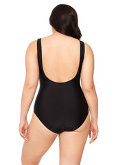 Black Plunge Mesh One Piece Bathing Suit