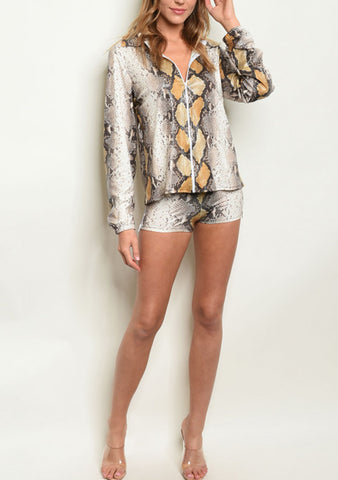 Snake Skin Jacket Shorts Set