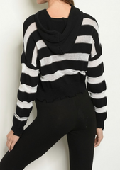 Striped Hoodie Crop Sweater