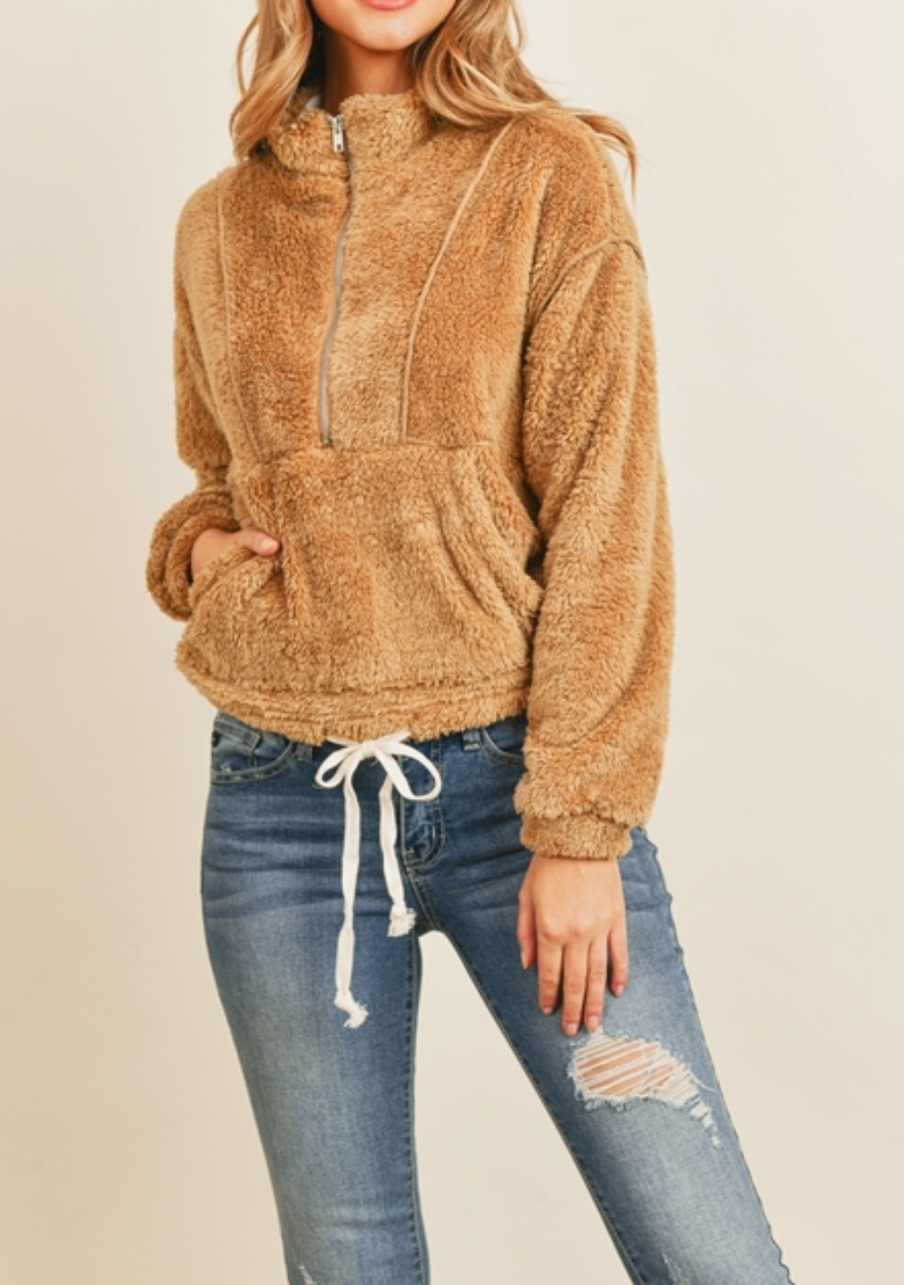 Tan Sherpa Sweatshirt