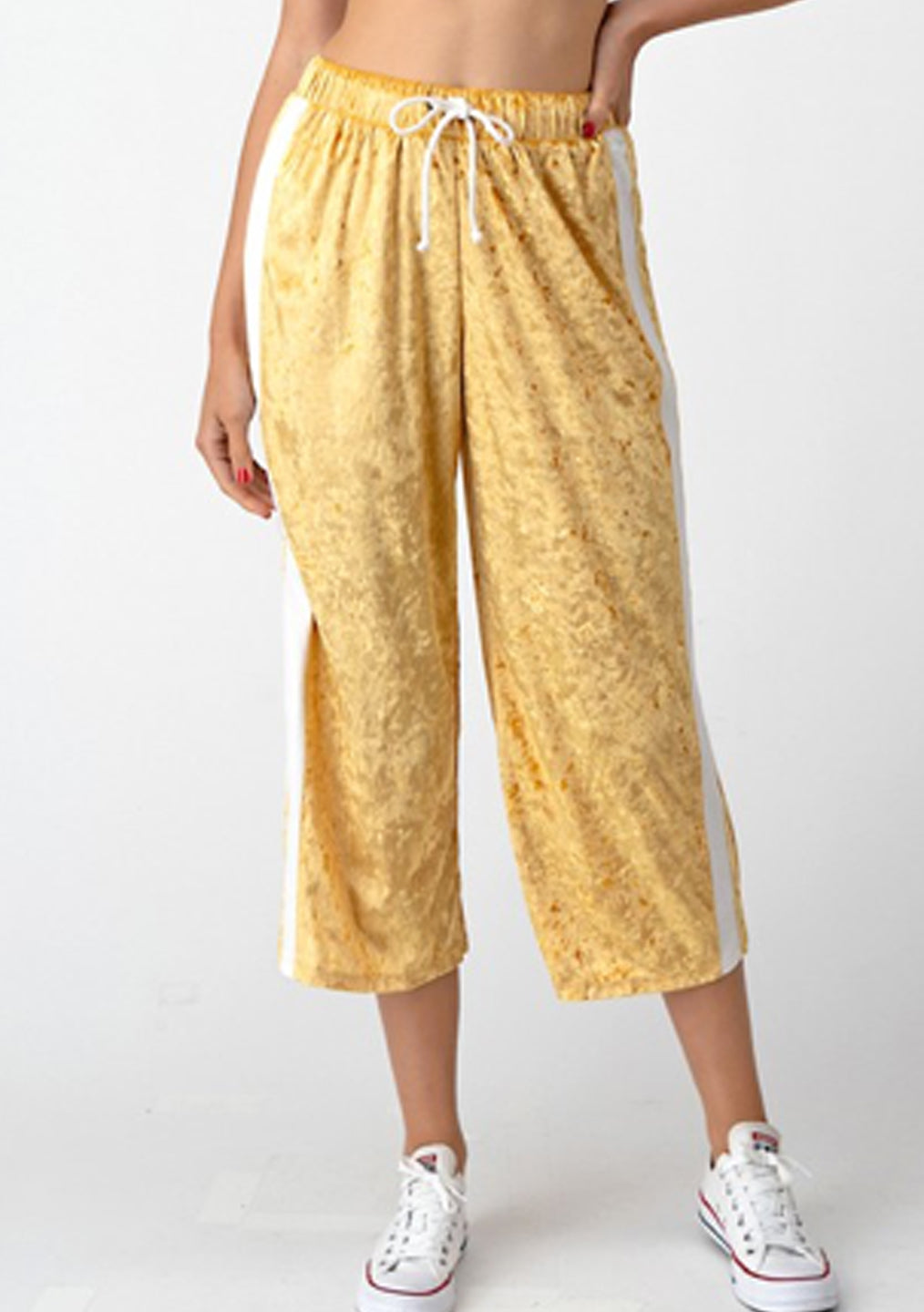 Yellow Velvet Capri Lounge Pants
