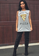 Vote For Pizza Muscle Tank Top