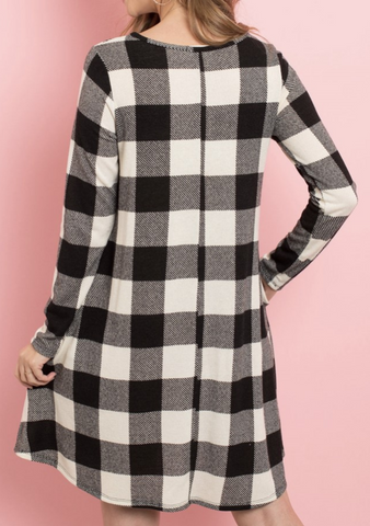 White Plaid Shift Dress