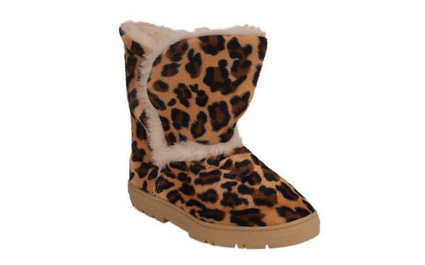 Brown Leopard Slipper Boot