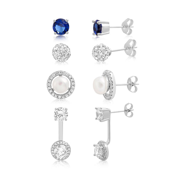 04644686f CZ Simulated Blue Sapphire and Simulated Pearl Ball Front To Back Stud and  Jacket 4 Piece