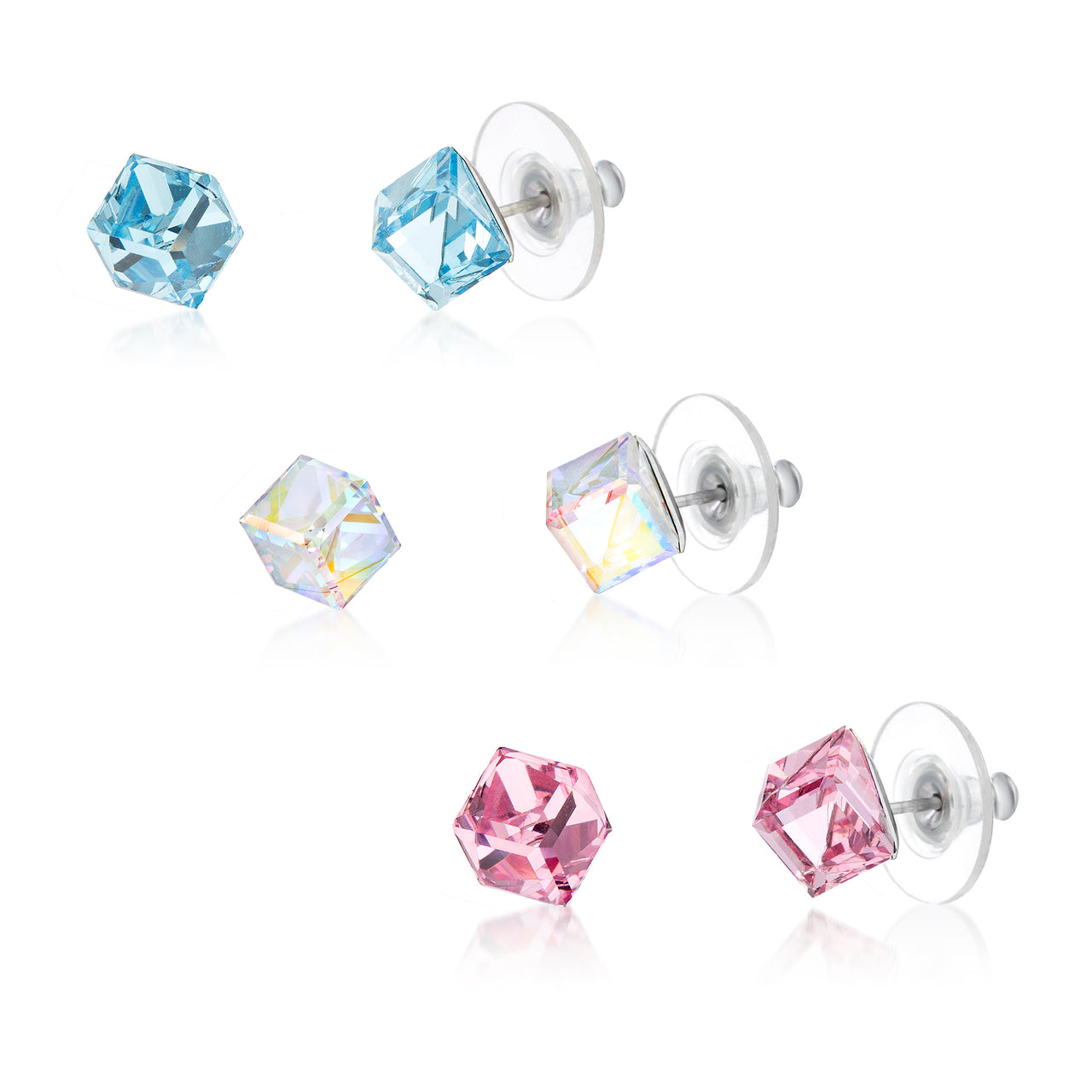 486831d0a 3 pair Cube Earring Set for Women for Women in Stainless Steel made with  Swarovski Crystals