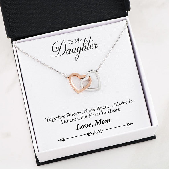 To My Daughter- Together Forever Interlocking Hearts Necklace