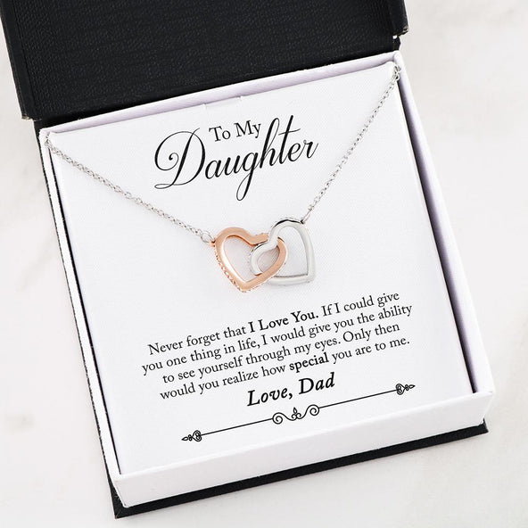 ***To My Daughter- I LOVE YOU Interlocking Hearts Necklace