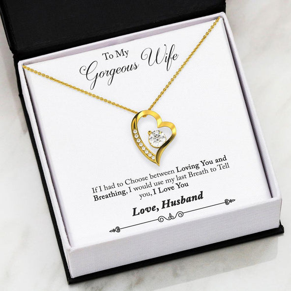 Husband to Wife - Loving You and Breathing Forever Love Necklace