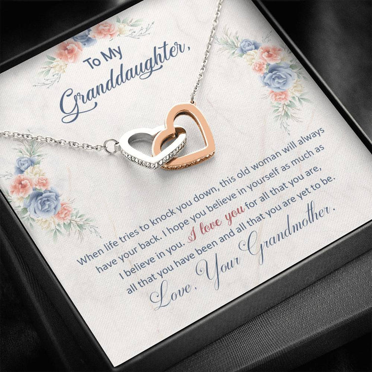 To My Granddaughter - I Hope You Believe In Yourself - Interlocking Hearts Necklace