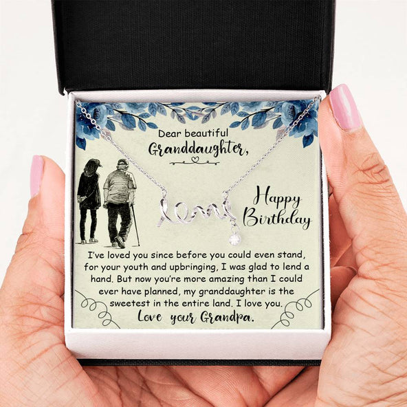 Gradpa to Granddaughter - Scripted Love Necklace