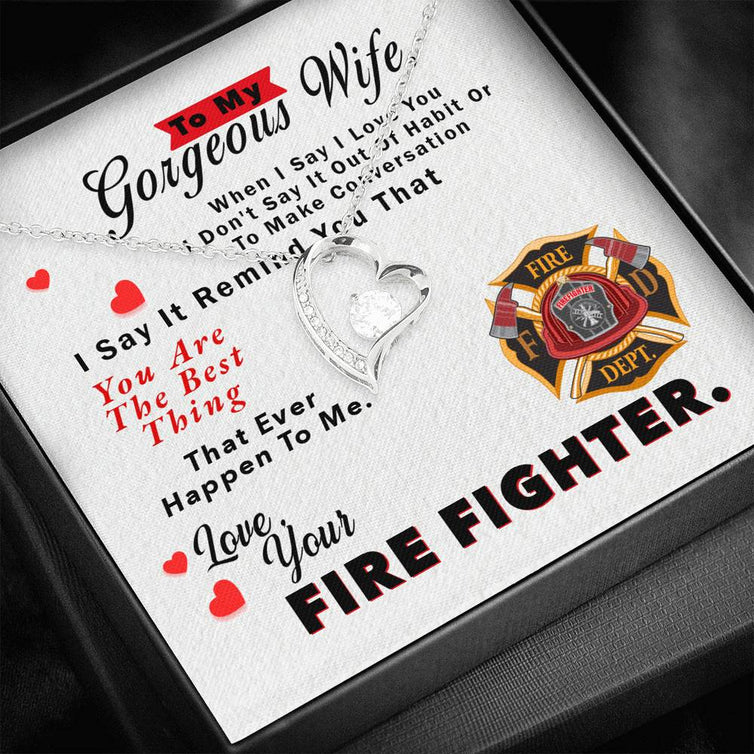 To My Wife - Your Firefighter - Forever Love Necklace