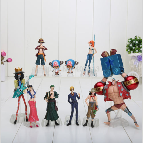 10pcs/set 4-18cm Anime One Piece Figures Dolls Toys 2 Years Later Luffy Sanji Zoro Brook Chopper Nami Franky model toys
