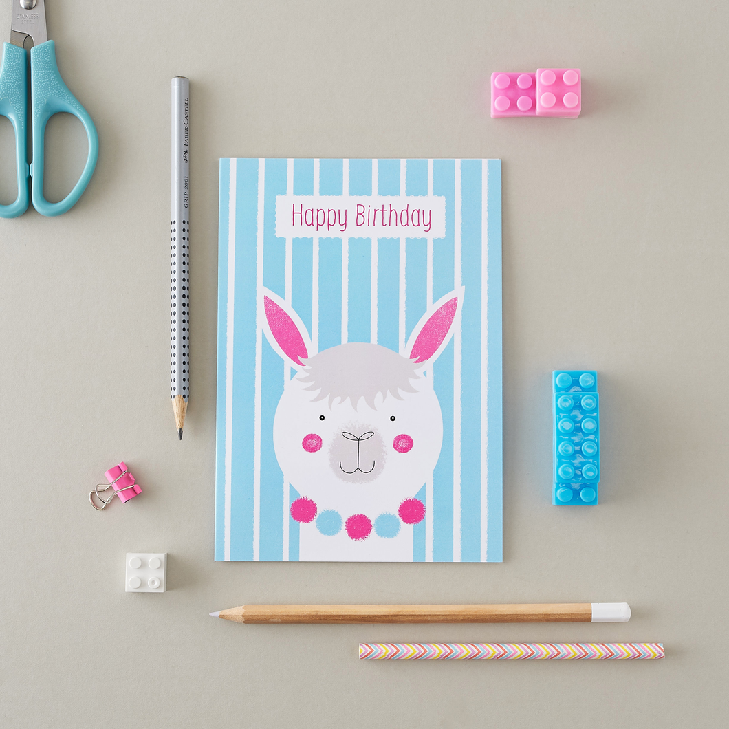 Stripy Alpaca Birthday Card