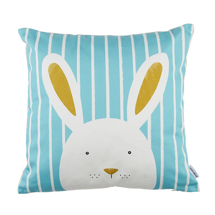 Stripy Bunny Blue Cushion Cover