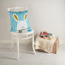 Load image into Gallery viewer, Stripy Bunny Blue Cushion