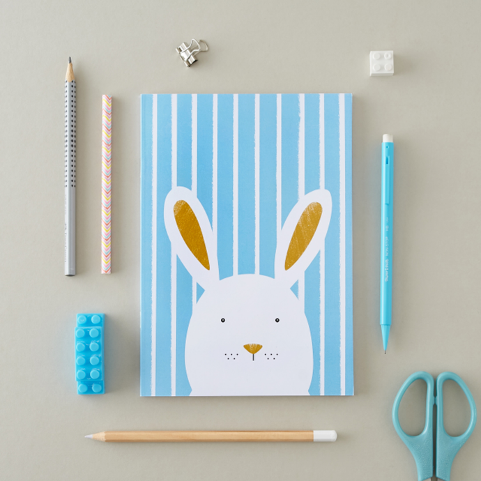 Stripy Bunny Blue A5 Notebook