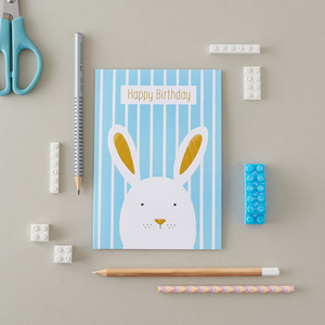 Stripy Bunny Blue Birthday Card